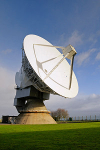STFC's Chilbolton Observatory 25m steerable antenna after being repainted,  5th January 2012.