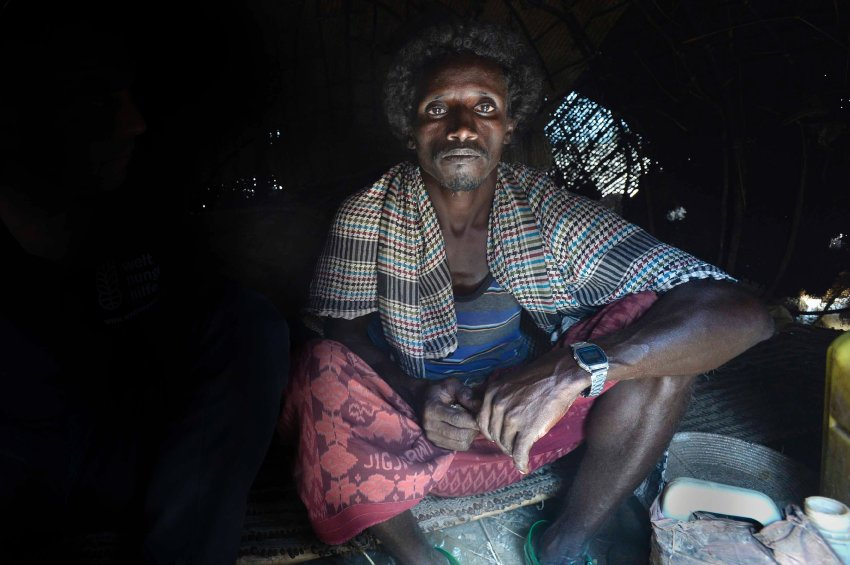 "Herder Ighale Utban has lost the basis of his livelihood through the drought. ""The rain helps, but it is coming too late and it won't bring my animals back,"" the 36-year-old says."